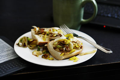Sauteed Leeks on French Bread