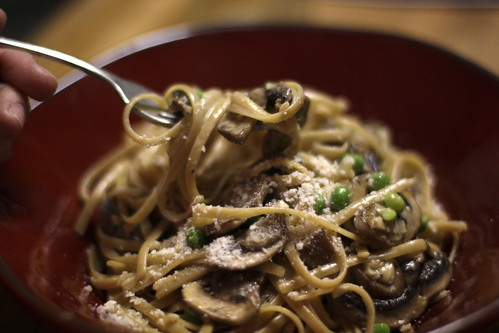 Tagliatelle with Mushrooms, Peas, Marsala and Cream