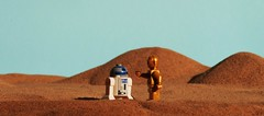 """How did we get into this mess."" (Blockaderunner) Tags: star lego r2d2 wars c3po tatooine"