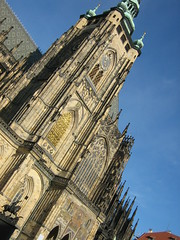 Tilted shot of stunning Gothic church in Prague (amazing_tina) Tags: cold church sunshine skyline scenery prague handmade spires churches czechrepublic catholicchurch oldchurch easterneurope cityview beautifulday gothicchurch pragueview tiltedshot bluecky detaileddesign