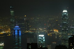 Hong Kong - Another View from The Peak (cnmark) Tags: china night skyscraper geotagged island hongkong noche harbor commerce view skyscrapers nacht harbour centre peak victoria hong kong international noite  thepeak sha  kowloon grattacielo icc nuit  notte tsimshatsui tsim tsui nachtaufnahme finance wolkenkratzer rascacielo gratteciel arranhacu 2ifc  1ifc 2internationalfinancecentre allrightsreserved   tripleniceshot geo:lat=22271418 geo:lon=114150123