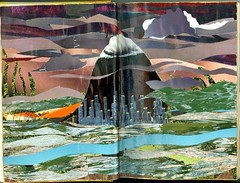 Altered Book - Portland (Imajica Amadoro) Tags: abstract collage miniature handmade originalart contemporaryart tissue small places columbiariver tiny alteredbook mthood pacificnorthwest portlandoregon collaboration alteredart papercollage organicart artistsbooks roundrobin tornpapercollage cutpapercollage mommsen alteredbookpages magazinecollage analogart arttissue catherinelmommsen catherinemommsen alteredbooksandhandmadejournals abhjrr