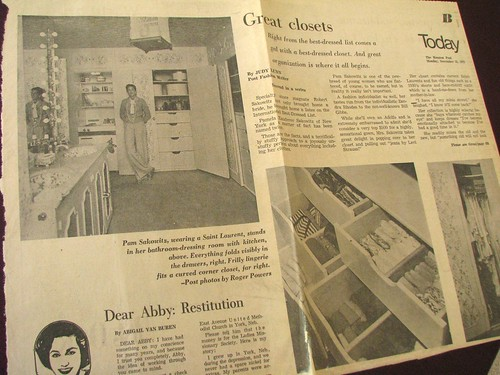 Newspaper article from 1972 about closet design