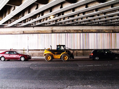 Tractor! (Pete Woolven) Tags: bridge summer tractor london yellow shop photoshop canon photography photo good under pete times woolven