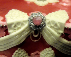 Birthday valentine cake 1 (Cake Rhapsody) Tags: pink red white cake silver hearts heart lace valentine sparkle valentines edible gem valentinesday jewel broach fondant royalicing isomalt lusterdust barbaranngarrard