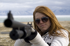 Shes Got a Gun 1 (stateofdreams) Tags: mountains girl project utah gun barrel class shooting shotgun readhead utahlake gunrange