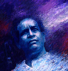 Bhimsen Joshi: Tribute (Shubnum Gill) Tags: blue portrait musician music woman india color colour art painting women asia acrylic delhi indian canvas painter classical karnataka joshi bharat newdelhi sangeet pandit vocal bhimsen hindustani ratna kirana khayal gharana shubnum bhimsenjoshi ragaas shubnumgill shubnamgill bharatratna