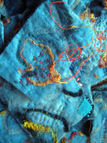 wet felted piece in progress