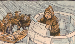 Unga built a little snow house for himself and his dogs (katinthecupboard) Tags: winter reader artic nativeculture vintagechildrensbooks vintagechildrensillustrations vintagereaders ruthmhallock