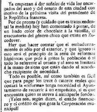 Artículo del 2 de octubre de 1913 en El Globo ironizando sobre los urinarios de Zocodover