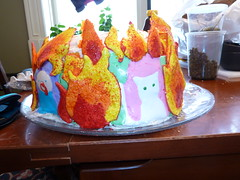 The flames are so hot his mouth is melting (jillheather78) Tags: birthday cake fire 90th birthdaycake icing cakedecorating royalicing
