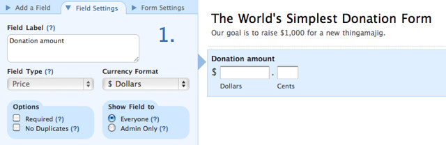 how to create a simple donation form wufoo