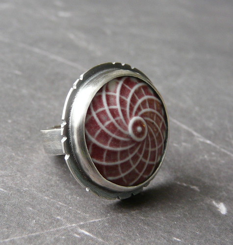 Spirograph - Porcelain & Sterling Ring