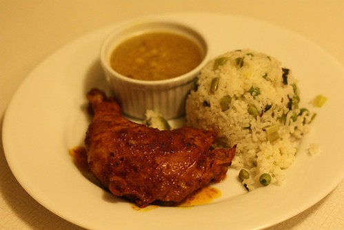 Spicy Baked Chicken, Red Lentils, Rice and Peas