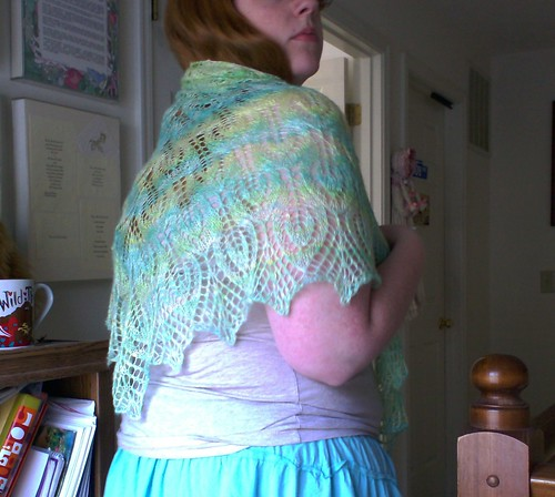 Lace silk gail nightsongs handspun blue gold shawl