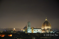Florence Duomo by Night (David Morse) Tags: old city blue light red sky italy sculpture orange brown white house mist black green tower church yellow statue night canon dark landscape geotagged 350d gold grey florence catholic glow cathedral gray roofs tuscany canon350d firen