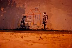 Crayon House Foreclosure (Banksy in LA) (Ultra Shine Blind) Tags: california city sunset streetart art losangeles paint santamonica banksy peanuts beverlyhills shooter stolen charliebrown crayon museums westwood westhollywood blvd oscars rcw wallsart exitthroughthegiftshop foreclosurehouse banksyisdead crayonhouseforeclosure cautioncrossing ultrashineblind charliebrownfirestater