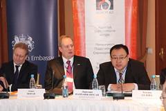 Dorjdari Namkhaijanstan, Board Member of the EITI International Board (right), welcomes participants of the conference 'EITI in Kazakhstan: Going Forward' (UK in Kazakhstan) Tags: uk britishembassy foreignoffice fco eiti