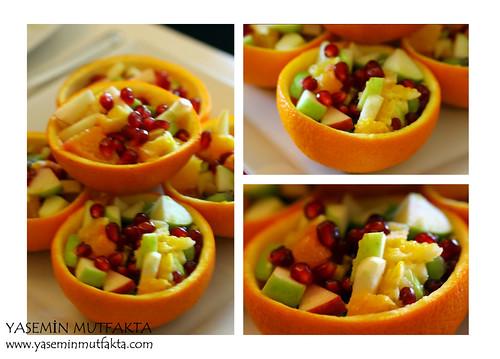 Portakal Çanağında Meyve Salatası