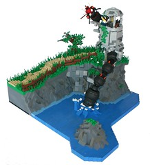 The Lone Tower (tin) Tags: door light cliff lighthouse house black tree water grass rock gun lego path bap creation fantasy prototype ba serpent moc atin brickarms blackfantasy