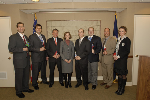 Farm and Foreign Agricultural Services Deputy Under Secretary Darci Vetter joined seven FAS Foreign Service Officers on Feb. 22  for a swearing-in ceremony at USDA. Pictured (L-R) are Caleb O'Kray (Brazil); Jess Paulson (Turkey); Mariano Beillard (Egypt); D U/S Vetter; Mark Myers (Korea); Christopher Riker (Russia); William Verzani (Philippines) and Emily Scott (Taiwan).