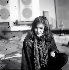 (Lola K.) Tags: nyc winter portrait bw film rooftop girl les mediumformat lowereastside leatherjacket 120mm splotches