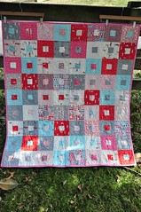 Violet's Quilt: Front (JulieFrick) Tags: new pink blue red baby grey quilt sweet violet scooters jellyroll quiltalong sherbetpips fatquarterly