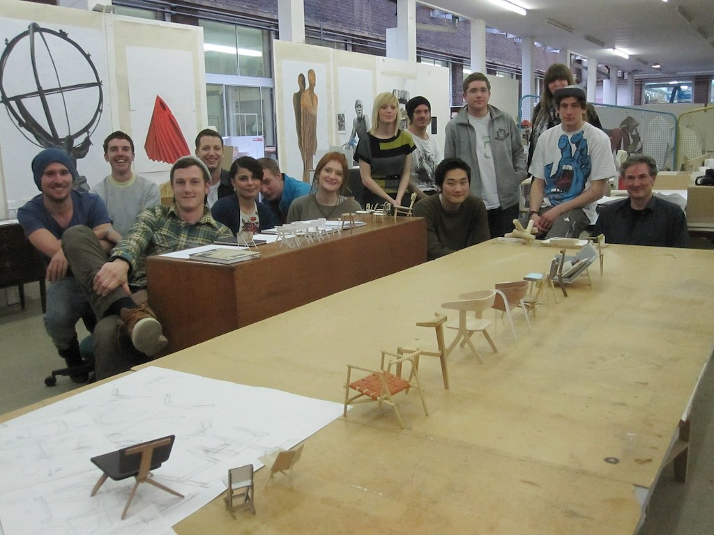 students with their chair models - BA Contemporary Furniture Design ercol project 2011