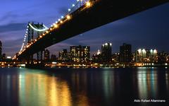 Brooklyn bridge (Rafakoy) Tags: city nyc newyorkcity longexposure urban bw ny newyork film water skyline architecture brooklyn night analog 35mm river photo nikon cityscape fuji dusk manhattan slide nikonf100 velvia brooklynbridge eastriver late epson empirestatebuilding empirestate 100 positive v600 velvia100 nikkor fujichrome e6 perfection velvia100f realphotograph fujichromevelvia100 nikonaf2880mmf3356g epsonv600 epsonperfectionv600