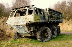 Six Wheeler Army Truck Hit By A Missile (TopSausageLobber) Tags: pictures park travel autumn winter sunset sea summer vacation 6 lighthouse holiday color art beach church water birds wales race port trek woodland walking army photography bay coast spring sand war rocks walks track waves colours bosom harbour path military south country lakes bridges chapel cliffs stack climbing lorry coastal soldiers moors coastline wheeler leisure trucks missile base forces mawr anglesey holyhead abrahams penrhyn rhosneigr