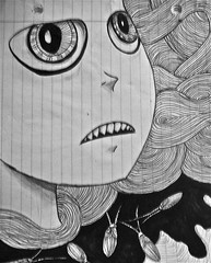 Half (GabrielAkinrinmade) Tags: art illustration pen pencil dark notebook strokes half
