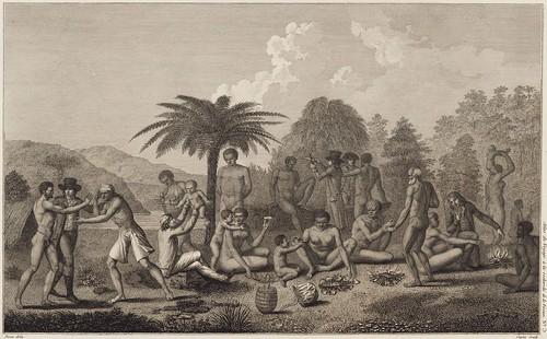 Sauvages du Cap de Diemen preparant leur repas