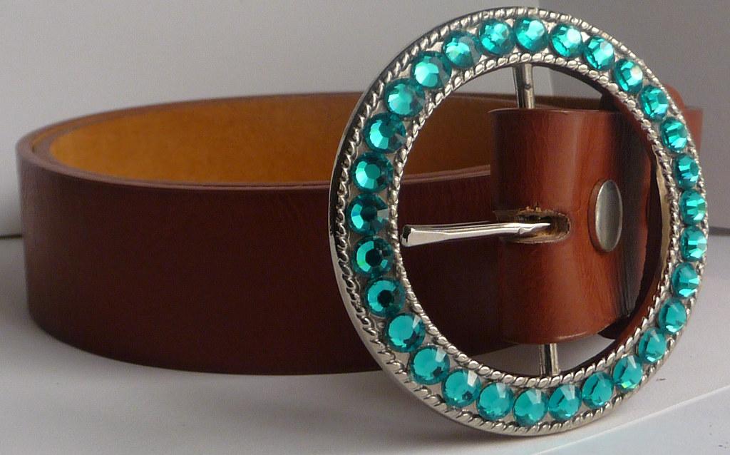 Womens Silver Belt Buckle (Snap On) Customized with Blue Zircon Swarovski Crystal Rhinestones Handmade by AngelGrace