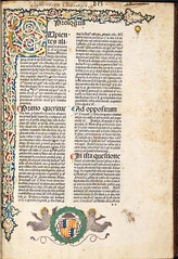 Decorated page including coat of arms in Duns Scotus, Johannes: In primum librum Sententiarum (University of Glasgow Library) Tags: incunabula specialcollections incunables incunabulum incunable jeanbaptistecolbert universityofglasgowlibrary johannesdecolonia johannesmanthen spcollhunterianby23 dunsscotusjohannes inprimumlibrumsententiarum