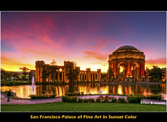 San Francisco Palace of Fine Arts in Sunset Color