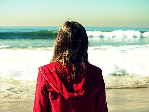 フリー写真素材, 人物, 女性, ビーチ・砂浜, 後ろ姿,