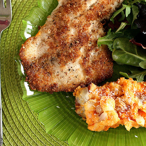 Coconut Almond Crusted Fish with Tropical Sweets Mash | paleo recipes | fish recipes | gluten-free recipes | mashed potatoes | dairy-free recipes | perrysplate.com