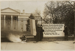 Suffragettes Bonfire and Poster at the White House