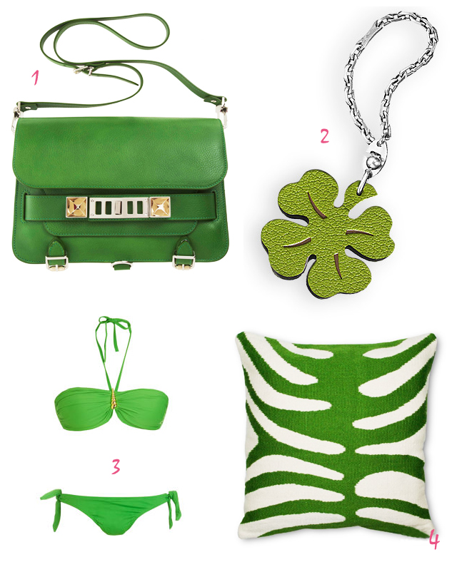 Kelley Green Things - 1,  green proenza schoulder shoulder bag, green hermes lucky shamrock key chain, green bikini, green zebra pillow