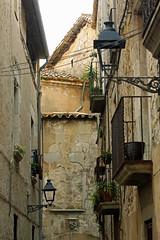 Calle del barrio antiguo de Girona (Esther Molin) Tags: espaa lamp spain farola streetlamp balcony catalonia girona catalunya