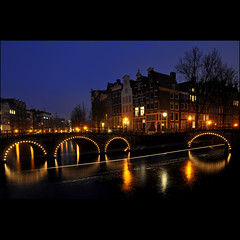 amsterdamned (leuntje (on tour)) Tags: bridge netherlands amsterdam canals bluehour grachten keizersgracht leidsegracht amsterdamned