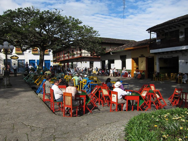 Main plaza of Jardin, Colombia