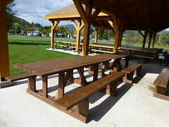 Picnic Tables at the Celgar Pavilion (arrowlakelass) Tags: millennium park picnic tables celgar pavilion castlegar bc canada p1080181