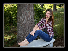 JACKIE - BAREFOOT BENCH (Peter Camyre) Tags: peter camyre photography ponds recreation group shoot portraits cumberland rhode island pretty models faces girls friends fun picture pose posing canon camera beautiful happy color flickr ef2470mmf28liiusm barefoot bare feet blue jeans smile beauty bench seat sitting
