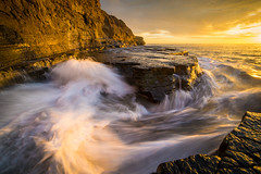 Fluid Gold (Fluid Light Images) Tags: sunsetcliffs sandiego sunset cliffs beach rocks water motion blur longexposure outdoor outside samyang 14mm sonyalpha
