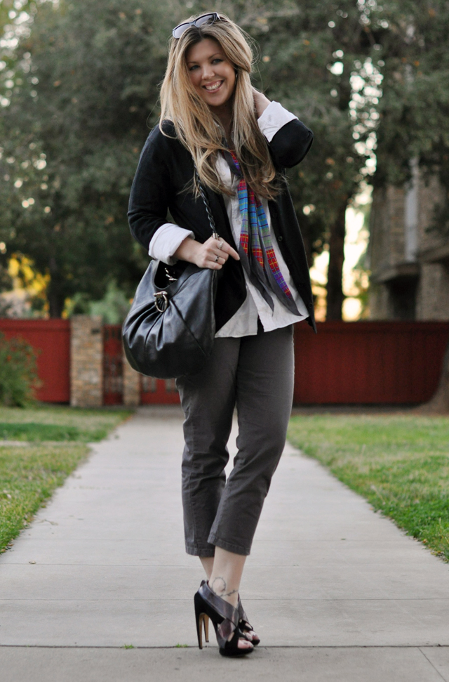 cropped pants with a white button down and black cardigan, nicholas kirkwood shoes, vintage scarf, ferragamo bag, long blonde hair, strawberry blonde hair, tom ford sunglasses, los angeles blogs, DSC_0056