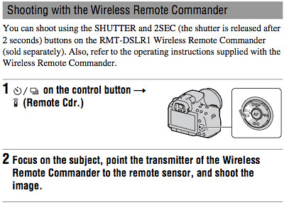 Using the Remote Cdr. setting with the RMT-DSLR1 Wireless Remote Commander, as documented on page 120 of the Sony A55 Manual
