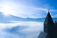 Good Morning Tyrol (Mike Bpunkt) Tags: morning italien blue light sky italy sun church fog landscape licht tirol nebel south kirche himmel berge blau landschaft sonne morgen tyrol tal southtyrol gebirge southtirol südtürol mourtains