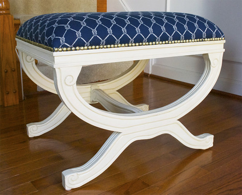 Home Goods Nautical Upholstered Stool 1