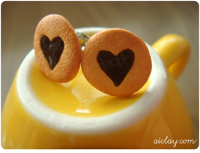 I Love You Valentine Heart Cookies - Earring Posts